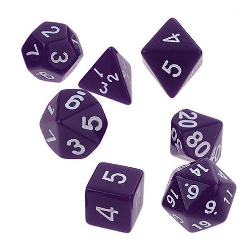 サイコロ 多面体 7種類のダイス ベーシック グロスカラー パープル 袋ケース付き イベント おまとめ お洒落 綺麗 ギフト パーティー 紫色 セット 色艶 彩り ナチュラル すごろく RPG ゲーム 【送料無料】 新品