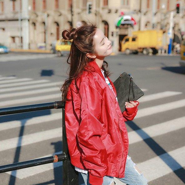 レディース 韓国ファッション スタジャン ジャケット ブルゾン アウター カジュアル 長袖 秋物 冬物 キュート オフコーデ OFF 大人可愛い クール お出かけ服 オフィス 普段着 レッド ブラック S M L XL サイズ