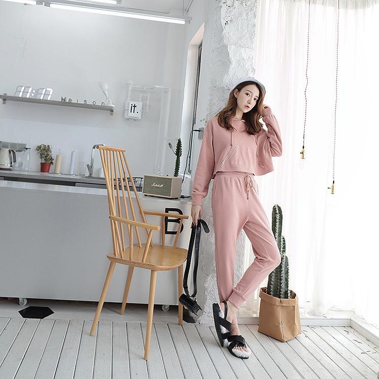 レディース 韓国ファッション 上下2点セット スウェットパンツ セットアップ パーカー 刺繍 フード付き ジョガーパンツ くるぶzpVGSMqU