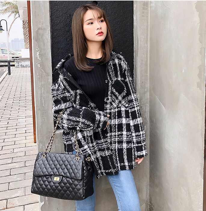レディース 韓国ファッション ツイード 格子柄 ジャケット コート アウター 秋物 冬物 普段着 オフコーデ OFF 大人可愛い コンサバ 上品 フォーマル ブラック XS S M サイズ