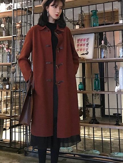 レディース 韓国ファッション コート トグル ロング丈 アウター ジャケット 秋物 冬物 普段着 OFF オフコーデ 大人可愛い 上品 フォーマル きれカジ ブラック ブラウン Fサイズ