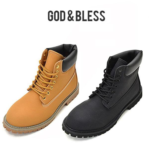 イエローブーツ メンズ☆ 送料無料 God Bless メンズ ギフ_包装 レディース GB FAKE BOOTS 靴 最新 LEATHER YELLOW シューズ ブラック新色 ブーツ