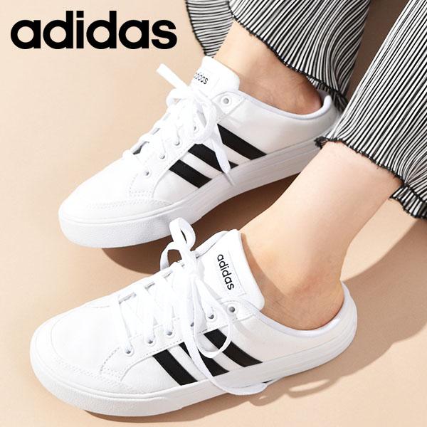 かかとなしスニーカー アディダス adidas メンズ レディース シューズ ホワイト ブラック 白 日本未発売 黒 送料無料 スニーカー 靴 ADISET U MULE FX4849 ミュール かかとなし サボ サンダル おすすめ スリッポン クロッグ