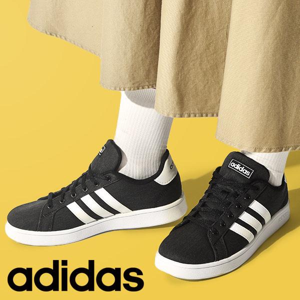 レディース 信託 スニーカー アディダス adidas GRANDCOURT K グランドコート ブラック 3本ライン 学校 42%off 通学 シューズ 靴 予約販売品 EG1517 黒