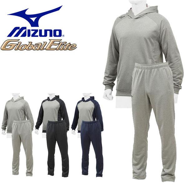 送料無料 スウェット 上下セット ミズノ MIZUNO グローバルエリート スウェットパーカ パンツ メンズ 上下組 プルオーバー パーカー スエット スポーツウェア 野球 ベースボール トレーニング ウェア 得割15