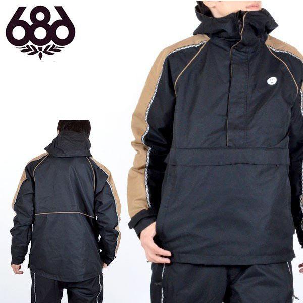 送料無料 スノーボードウェア 686 SIX EIGHT SIX シックスエイトシックス Catchit Anorak Jacket メンズ アノラックジャケット ブラック 黒 スノボ アノラック スノーボード スノーウェア 得割20