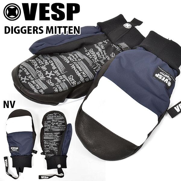 送料無料 ミトングローブ VESP ベスプ DIGGERS MITTEN BBG19-01 ネイビー 紺 ミトン 手袋 メンズ スノー グローブ スノーボード スノボ スキー 防寒 2019-2020冬新作 19-20 19/20 10%off