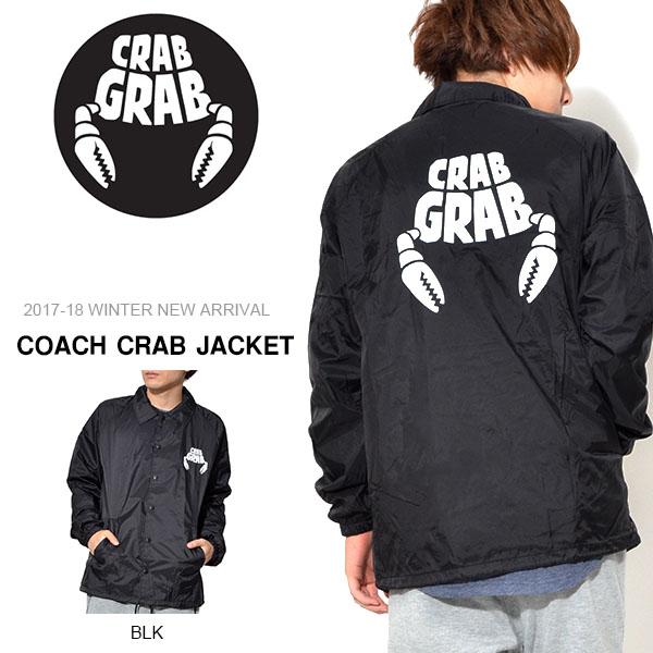 送料無料 コーチジャケット クラブグラブ CRAB GRAB メンズ COACH CRAB JACKET ナイロンジャケット ウインドブレーカー スケート ロゴ スノボ スケボー 国内正規品 スノーボード 得割30 現品限り