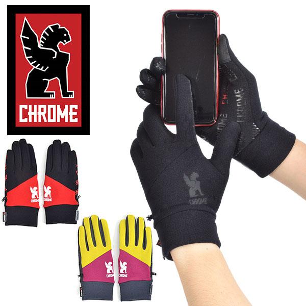 話題の暖かポーラーテック仕様 送料無料 グローブ CHROME クローム パワー ストレッチ グローブ 手袋 ピスト バイク スケボー メッセンジャー