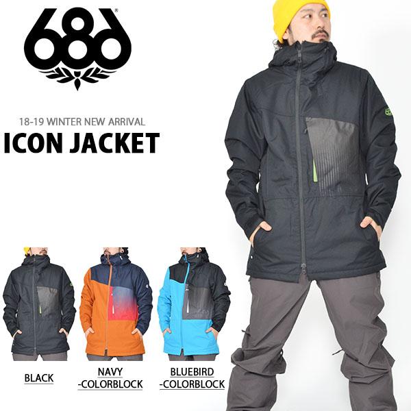 送料無料 スノーボードウェア 686 SIX EIGHT SIX シックスエイトシックス ICON JACKET メンズ ジャケット スノボ スノーボード スノーウェア18/19 得割20