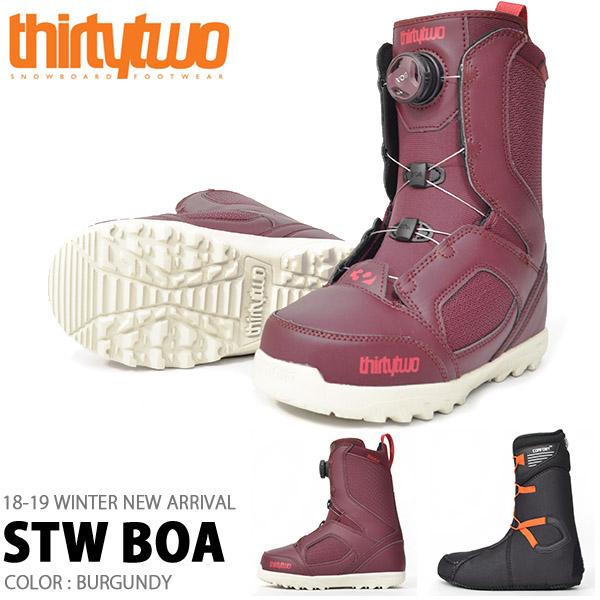 送料無料 ThirtyTwo 32 サーティー トゥー スノーボード ブーツ STW BOA レディース ボア スノボ BOOTS 低温 サーモインナー サーティーツー 成型 2018-2019冬新作 18-19 18/19 得割20