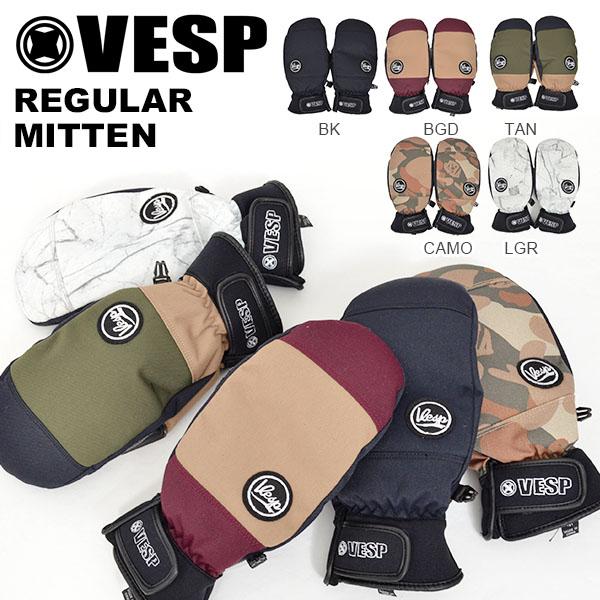送料無料 ミトングローブ VESP ベスプ REGULAR MITTEN VPMG18-01 ミトン 手袋 メンズ スノー グローブ スノーボード スノボ スキー 防寒 20%off