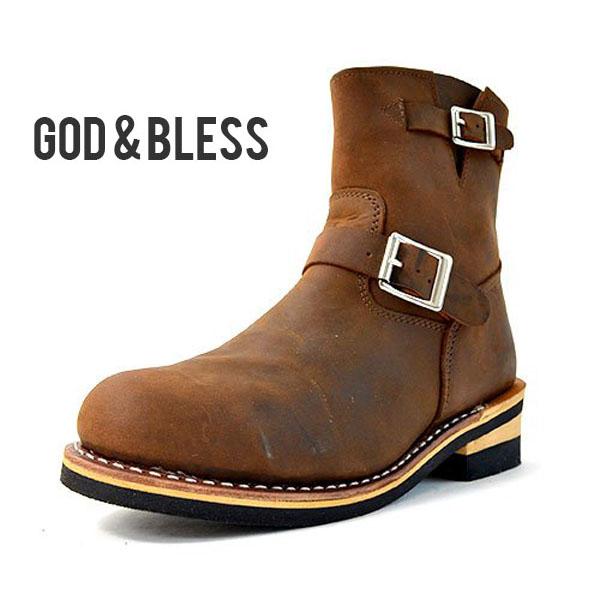 送料無料 エンジニアブーツ メンズ レディース ブーツ ブラウン 茶 本革 レザー ショートブーツ ショート シューズ 靴 GOD&BLESS ゴッド&ブレス