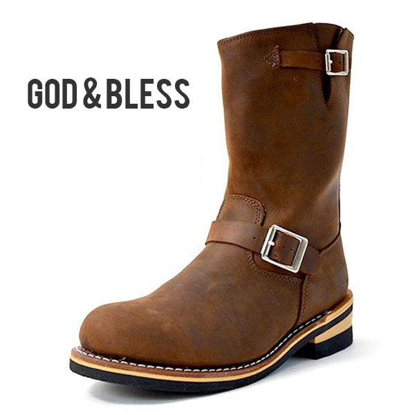 送料無料 エンジニアブーツ メンズ レディース ブーツ ブラウン 茶 本革 レザー ロングブーツ ロング シューズ 靴 GOD&BLESS ゴッド&ブレス