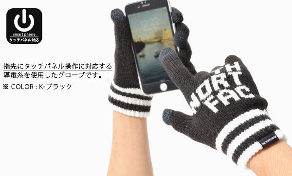 現品限り ニット グローブ THE NORTH FACE ザ・ノースフェイス Big Logo E-Knit Glove ビッグロゴ イーニット グローブ 手袋 防寒 2017秋冬新作 スノー 登山 雪山 インナー タッチパネル対応 スマホ対応 20%off