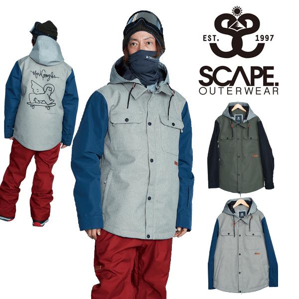 送料無料 スノーボードウェア SCAPE エスケープ EQUALIZE JACKET メンズ ジャケット スノボ スノーボード スノーウェア CAMO カモ 30%off