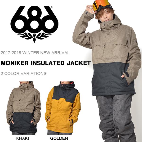 送料無料 スノーボードウェア 686 SIX EIGHT SIX シックスエイトシックス MONIKER INSULATED JACKET メンズ ジャケット スノボ スノーボード スノーウェア 2017-2018冬新作 17-18 得割25