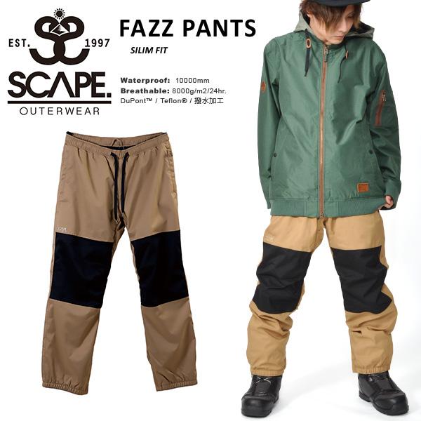送料無料 スノーボードウェア SCAPE エスケープ FAZZ PANTS メンズ パンツ ファズ スノボ スノーボード スノーウェア ボトムス リラックスフィット18/19 25%off