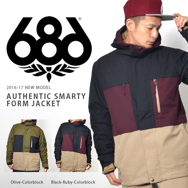 送料無料 スノーボードウェア 686 SIX EIGHT SIX シックスエイトシックス Authentic Smarty Form Jacket メンズ ジャケット スノボ スノーボード スノーウェア 得割35
