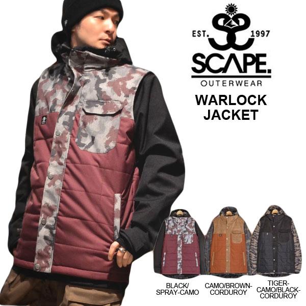 送料無料 スノーボードウェア SCAPE エスケープ WARLOCK JACKET メンズ ジャケット スノボ スノーボード スノーウェア CAMO カモ 40%off