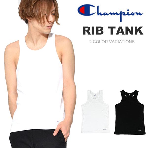 国内正規品 再入荷 タンクトップ チャンピオン Champion メンズ リブタンク ワンポイント 吸汗速乾