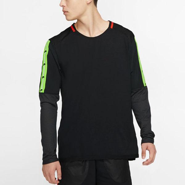 送料無料 長袖 Tシャツ ナイキ NIKE メンズ ワイルドラン トップ L/S ブロックロゴ スポーツパック ランニングシャツ トレーニングシャツ スポーツウェア ブラック 黒 BV5591 2019冬新作 20%off