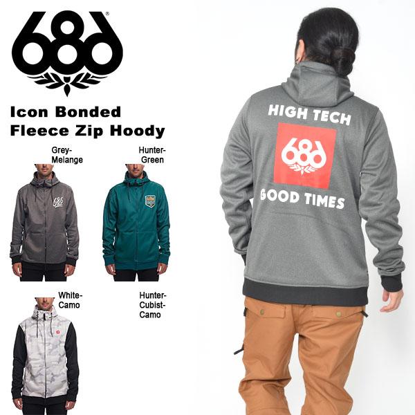 送料無料 ジップ パーカー 686 SIX EIGHT SIX シックスエイトシックス Icon Bonded Fleece Zip Hoody メンズ ジップ パーカー スノボ スノーボード 撥水 ボンディング L8WCST01 2018-2019冬新作 18-19 18/19 得割20