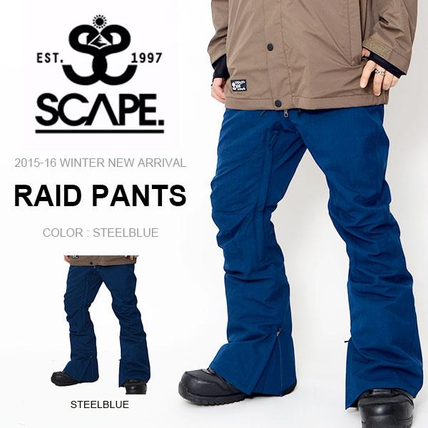 現品のみ 送料無料 スノーボードウェア SCAPE エスケープ RAID PANTS メンズ パンツ ライド スノボ スノーボード スノーウェア ボトムス レギュラーフィット 40%off
