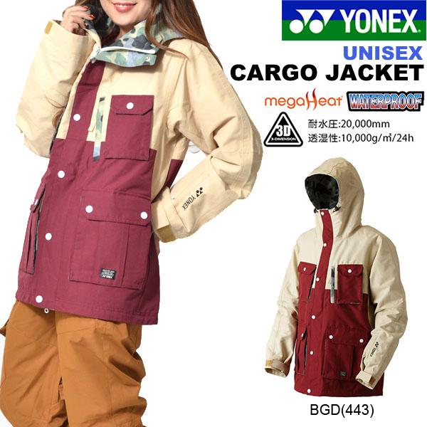 送料無料 スノーボードウェア YONEX ヨネックス メンズ レディース ジャケット CARGO JACKET カーゴジャケット スノーウェア スノーボード スノボ スキー スノー 65%off