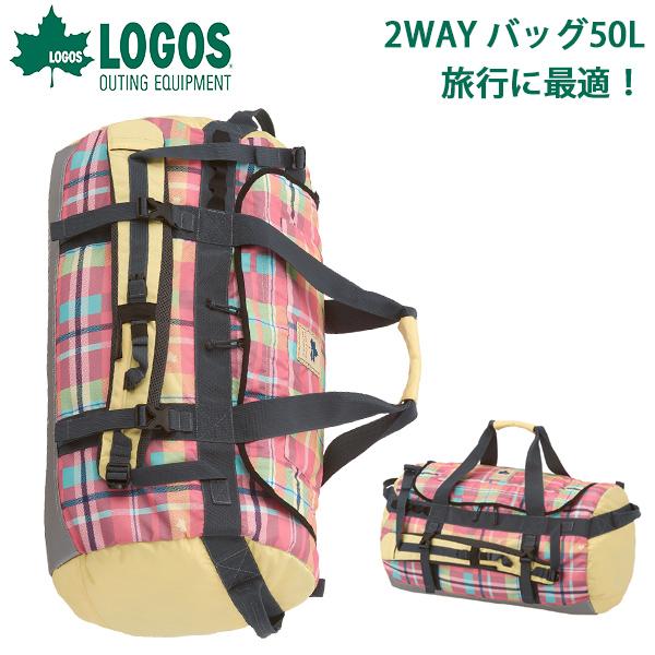 送料無料 ロゴス LOGOS 2WAY バッグ レディース CADVEL-Designダッフルバッグ50 AE・check チェック柄 50L バックパック ダッフルバッグ リュックサック ザック リュック バッグ アウトドア キャンプ 旅行
