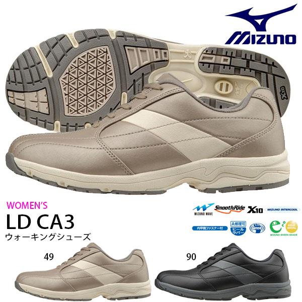 送料無料 ウォーキングシューズ ミズノ MIZUNO レディース LD CA3 幅広 3E ファスナー付 スニーカー 靴 カジュアル ウォーキング シューズ