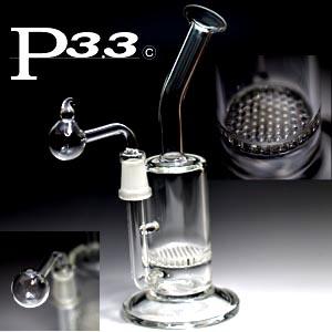 パイレックスP3.3製ハニカムフィルタークラックボング(フタ付) 水パイプ