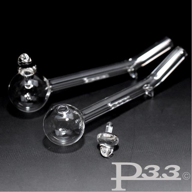 百貨店 ヴェポライザーとしても使えるコンパクトなガラスパイプの喫煙具 フタ脚付クラックパイプ ギフト パイレックスP3.3製ハッカパイプ