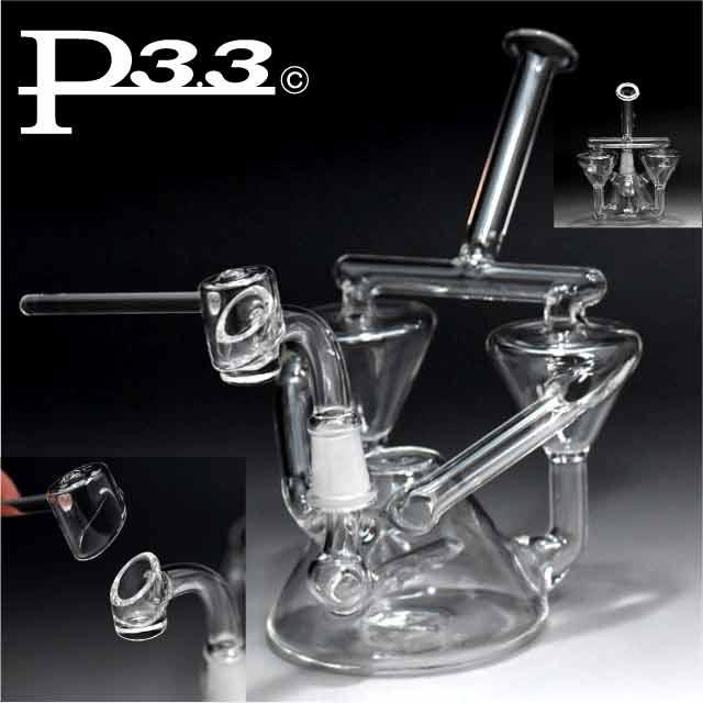 送料無料 大人気 パイレックスP3.3製のガラスパイプ セール特価 安心の定価販売 水パイプ WAX オイル用フタ付リサイクラーP3.3製ガラスボング 喫煙具