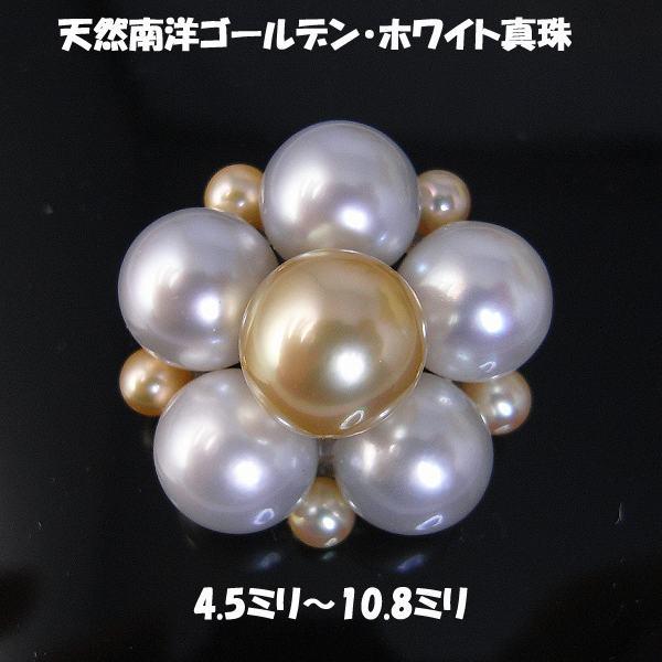 【送料無料】天然南洋ゴールデン・ホワイト真珠ブローチ?72660