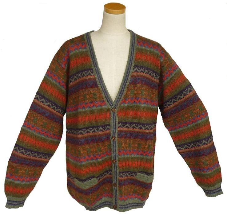 アルパカ100%Vネック ALCA-039 男性 セーター カーディガン ペルー製 アンデス ソフト 幾何学柄