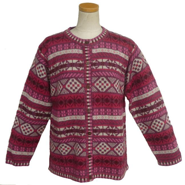 女性用 アルパカ100% カーデイガン ALCA-059 丸首 ペルー製 アンデス ソフト 暖かい 幾何学柄 綺麗 可愛い