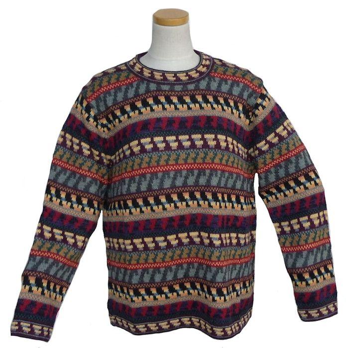 アルパカ100%セーター ALC-065 男性 丸首 ペルー製 アンデス ソフト 暖かい 幾何学柄