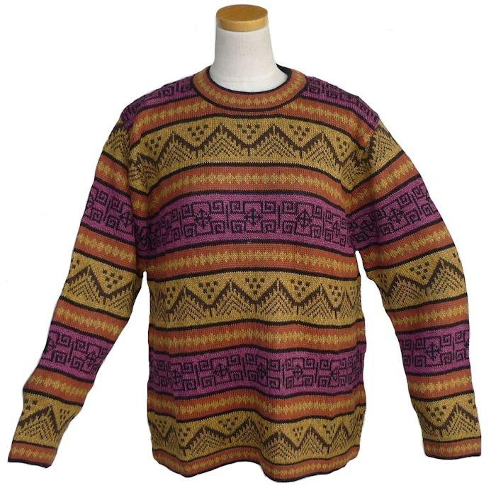 アルパカ100%セーター 男性 丸首 ペルー製 アンデス ソフト 暖かい 幾何学柄 ALC-067