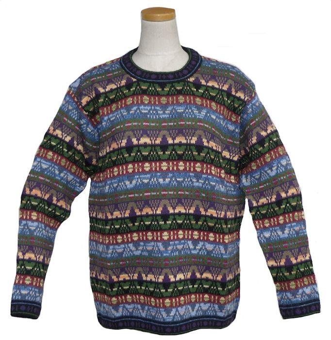 アルパカ100%セーター ALC-073 男性 丸首 ペルー製 アンデス ソフト 暖かい 幾何学柄