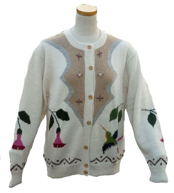 アルパカ100% カーディガン ALCA-011-1 女性 ペルー ソフト 暖かい 可愛い 花と鳥柄 生成り