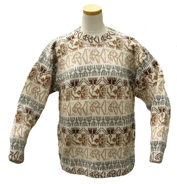アルパカ100%セーター 男性 民族柄 ソフト 暖かい インカ柄・ナスカ地上絵柄 生成り ALC-006-1