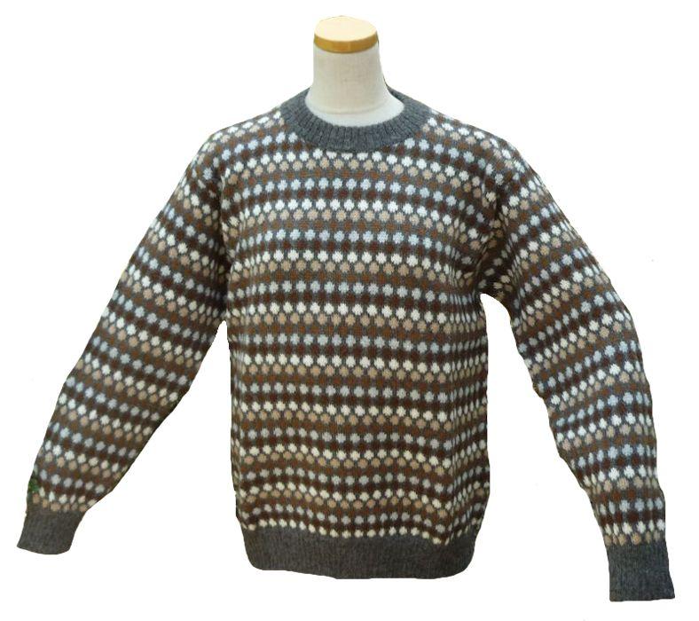 アルパカ100%セーター ALC-029-3 男性 アンデス ペルー ソフト 暖かい 高品質 水玉柄 濃グレー