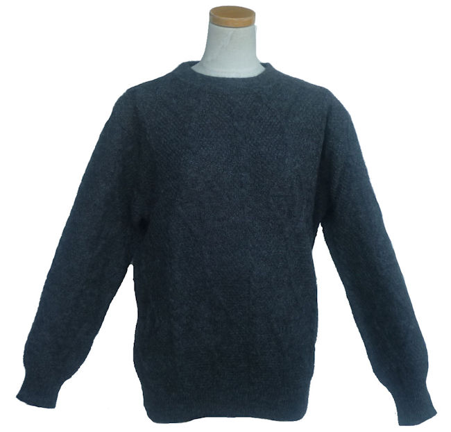 アルパカ100%セーター ALC-079B 男性 丸首 アルパカ柄 縄編み ペルー製 アンデス ソフト 暖かい 幾何学柄 インカ柄
