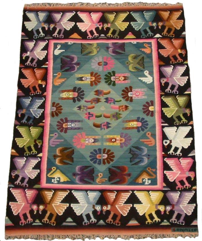 草木染め等 民族織物 ペルー 壁掛け・テーブルクロス(大) インカ柄 アンデス手織り 1