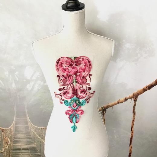 チュールにカラフルな刺繍を施したモチーフです バトン レオタード モチーフ 衣装 レースモチーフ 花柄 ダンス 即納送料無料 花 ピンク 価格 交渉 送料無料