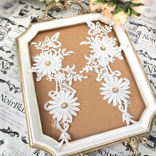 ビーズ付き立体的な花のモチーフセットになります 春の新作続々 バトン レオタード モチーフ 衣装 レースモチーフ 装飾 白 フラワーモチーフ 花 直輸入品激安