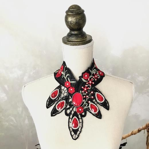 チョーカー レース レディース ゴスロリ ゴシック ネックレス 衣装 ブラック 黒 アクセサリー フラメンコ 舞台 赤 ステージ衣装 ダンス