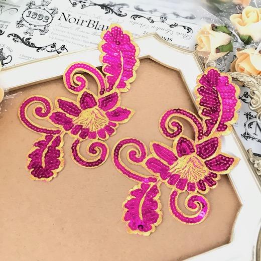 (訳ありセール 格安) スパンコール付きのお花のワッペンモチーフです スパンコール モチーフ 花 衣装 バトン レオタード アイロン用 花モチーフ ピンク ワッペン 高級品 ハンドメイド 装飾 貼り付け ダンス