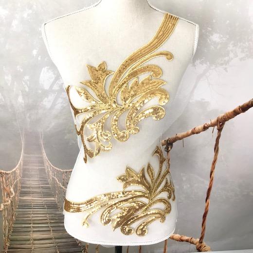 ゴージャスなゴールドのスパンコールモチーフセットです スパンコールモチーフ ゴールド モチーフレース チュール ペアセット レオタード 衣装作りスパンコール マーケティング 装飾 モチーフ メーカー公式 手作り